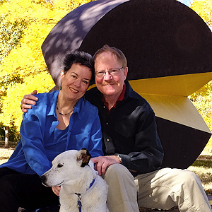 Denver web developer, fine artist and writer Shere Chamness, with Paul Von Huben and Laika the art dog