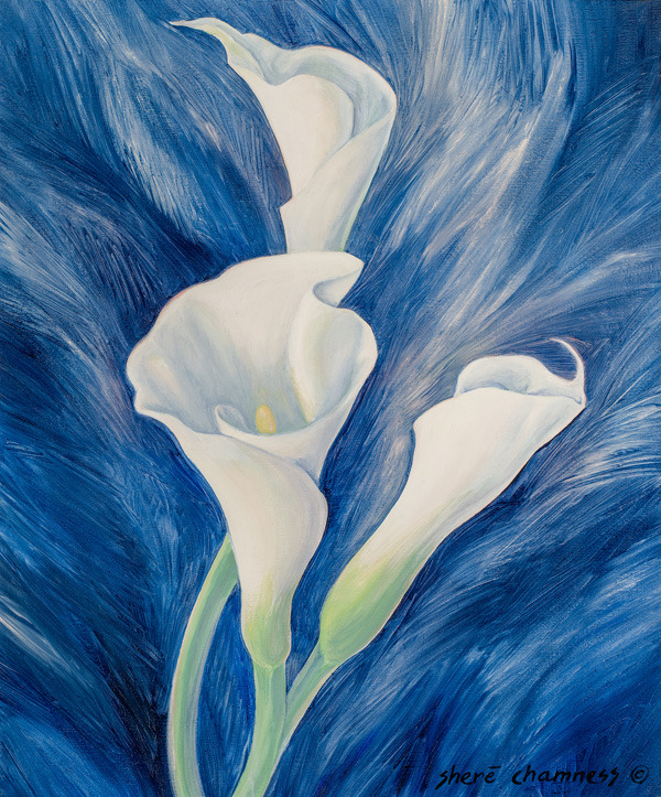 Three Callas, A Painting by Shere Chamness