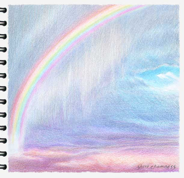 Rainbow And Virga A Colored Pencil Sketch By Shere Chamness