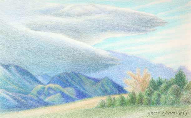 Color Pencil Clouds Colored Pencil Sketch by Shere