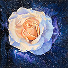 Painting of White Rose floating within a nebula in the Magellanic Cloud by Shere Chamness